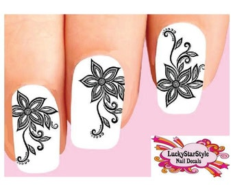 Waterslide Flowers Nail Decals Set of 20 - Black Lace Flower with Scrolls