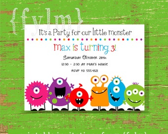 MONSTER Party Printable Party Invitations - I design - YOU PRINT