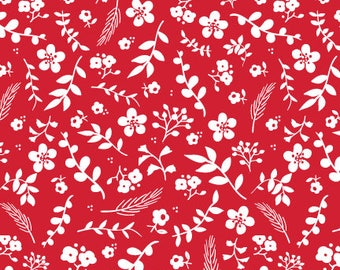 Sweet Prairie Fabric - Floral in Red - fat quarter / yardage