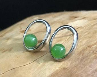 Canadian Nephrite Jade Earrings - Surgical Steel - Natural Jade - Green Jade