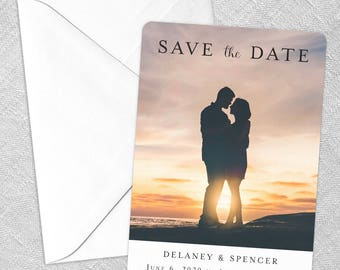Cherished - Card - Save the Date - Includes Back Side Printing + Envelope