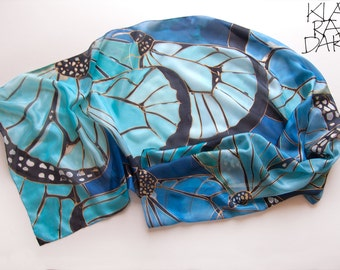 Butterfly Wings silk scarf. Hand painted scarves. Blue scarf painted by hand. Women scarf/ Spring shawl/ Fashionista gift/ Art to wear