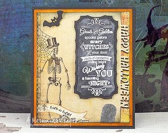 Chalkboard Sentiment Skeleton Happy Halloween Greeting Card