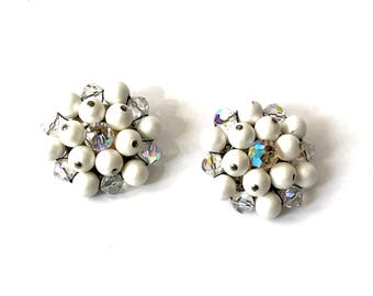 White Bead Cluster Earrings  Aurora Borealis Crystal Beads  Clip On Earrings  Silver Tone  Vintage 1950s  Bridal Earrings  Gift For Her
