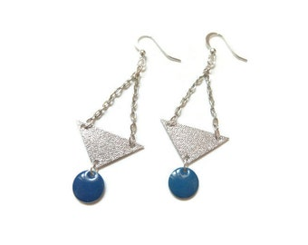 Dark blue triangle sequins and Silver earrings