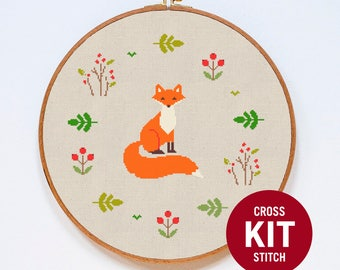 Fox Cross Stitch Kit, Cute Animal Counted Easy Cross Stitch Kit, Modern Cross Stitch Kit, Counter Cross Stitch Pattern Instructions