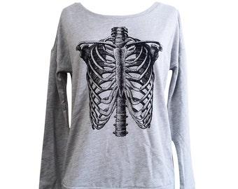 Ribcage Sweater - Anatomical Skeleton Long Sleeve Scoop Neck  - Ladies Sizes S, M, L, XL