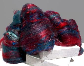 """fiber art batt, wool, roving, PHAT FIBER, """"Dreaming Dragon"""" spinning, felting, Aqua teal turquoise peacock blue hunter green, red, raspberry"""