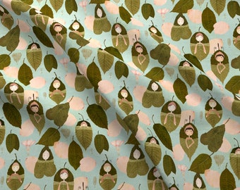 Leaf Sleepers Fabric - Blue Leaf Sleepers By Katherine Quinn - Little People Sleeping Blue Green Cotton Fabric By The Yard With Spoonflower