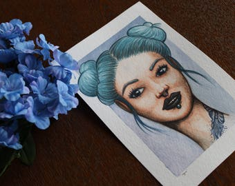 Aqua: Original Watercolor and Gouache Painting by Xela S.