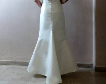 PROM SKIRT/ Wedding Skirt/ Mermaid Fishtail  Satin Maxi Skirt /Two-Piece Wedding Gown /Robe de mariée