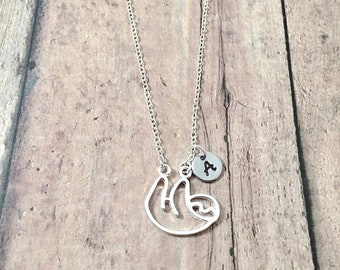 Sloth initial necklace - sloth jewelry, rainforest jewelry, South America jewelry, sloth necklace, Amazon jewelry, silver sloth pendant