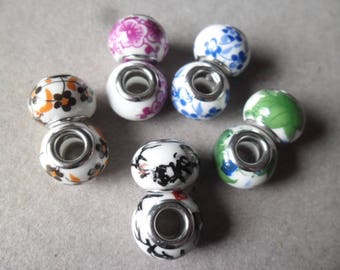 x 5 mixed ceramic beads patterned silver metal 13 x 10 mm