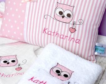 Spar-Set Namenskissen, Handtuch,Schmusetuch,Eule,rosa,Baby