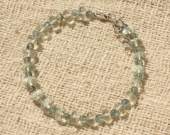 Apatite 3-4mm and 7mm faceted Prasiolite 925 sterling silver bracelet