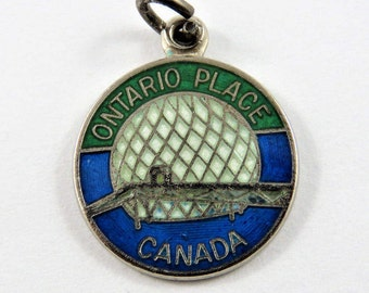 Enameled Ontario Place Toronto Canada Sterling Silver Pendant or Charm.