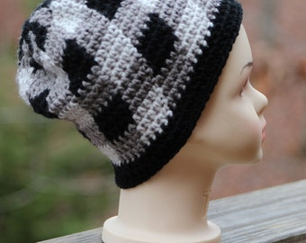 Kids crochet hats, Children crochet hats, children crochet beanie, Black and gray plaid hat, Winter hats, Gift for brother, Birthday gift