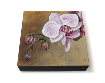 Orchid painting - purple magenta flower art - exotic orchid artwork - realistic orchid decor - gardener gift - realistic botanical painting