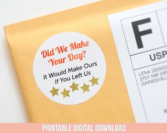 Etsy Review Stickers - Package Insert - Printable Stickers - Review Sticker - 5Star Reviews - Packaging Supplies - Etsy Labels