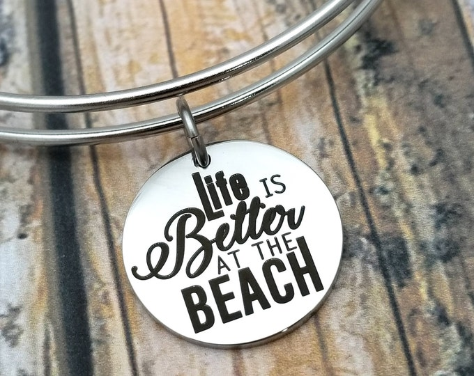 Life is better at the beach Customizable Expandable Bangle Charm Bracelet, beach, ocean, gift, stainless steel