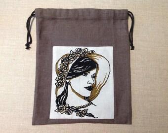 """Pouch, lingerie bag: """"floral Hat Lady"""""""