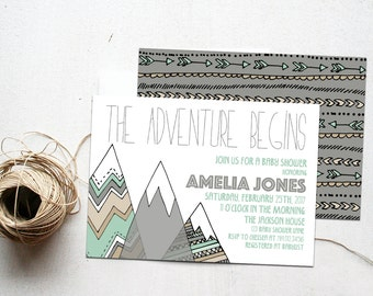 Mountains Baby Shower Invitation Digital File, Adventure Begins, Gender Neutral Tribal Camping Birthday Party Invite, Woodland Printable