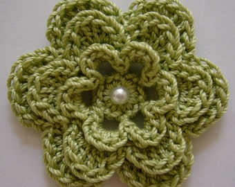 Crocheted Flower - Lime Green with Pearl - Cotton Flower - Crocheted Flower Applique - Crocheted Flower Embellishment