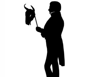 Le Gnu, The Masked Ball Silhouette Print Black and White Wildebeest