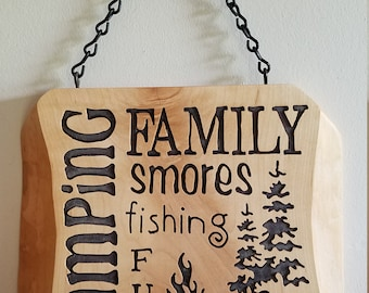 Camping Family Smores Fishing Fun Hiking Handmade, Hand Routed Wood Sign.