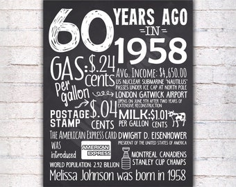 60th Birthday Chalkboard Sign Poster Personalized Birthday Poster Sign Printable / 60 years ago Back in 1958 USA Events  / Gift - P419