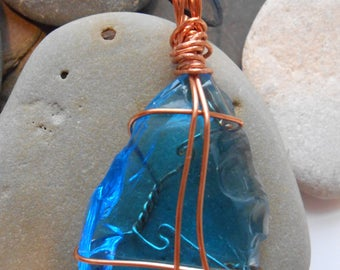 Blue Glass Wire-Wrapped Pendant:  Raindrop