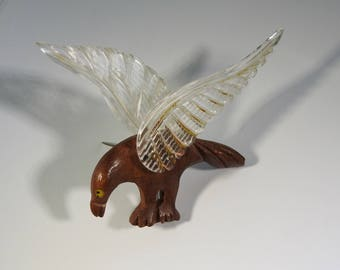 Elzac Lucite Wooden Bird Brooch