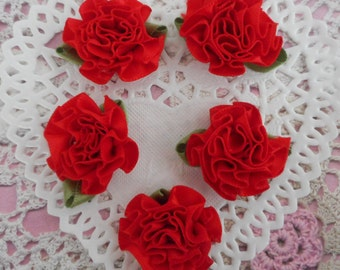 Red satin flower green leaves for decoration or customisation of 3.50 cm width (per 5 flowers).