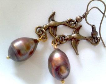 Bird with a Pearl Dangling Earrings