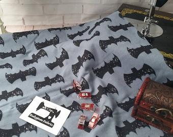 Black - Grunge - Bat - Charcoal - Grey - Cotton Lycra - Stretch - Knit - Fabric - Cotton Spandex - Bats - Batman - Superhero - Comic