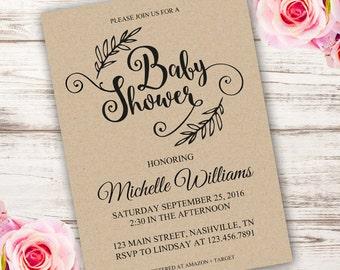 Vintage Baby Shower Invitation, Printable Baby Invitations, Kraft Baby Shower Invitation, Instant Download, edit with Adobe reader