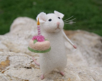 Birthday needle felt mouse White mouse Needle felt animal miniature Birthday gift Home decor