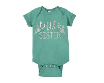 Little Sister Floral Onesie Customized