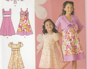 Dress With Short Jacket Pattern Girls Size 3 - 4 - 5 - 6 Uncut Simplicity 2683