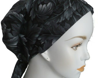 Black Leaves Cancer Hat Chemo Scarves Head Wrap Hair Loss Turban Headcovering Bad Hair Day Hat