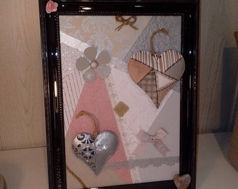 Frame with heart of metal romantic, modern, moved style - grey, pink and white tones