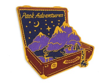 Adventure Patch, Suitcase Patch, Travel Patch, Patch For Bags and Clothes, Inspirational Patch, Embroidered Patch, Traveler Patch