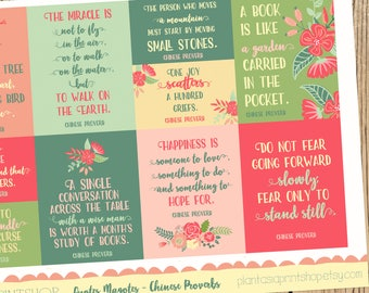 Quotes Magotes, Chinese Proverb Stickers, Quote Stickers, Inspirational Quotes, Wisdom, for use with Erin Condren, Happy Planner