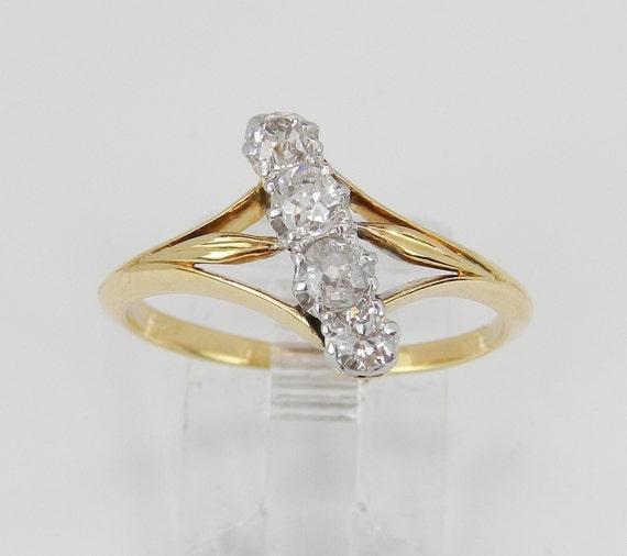 Old Miner Diamond Journey Ring Vintage Antique 14K White Yellow Gold Circa 1920's Size 8.25