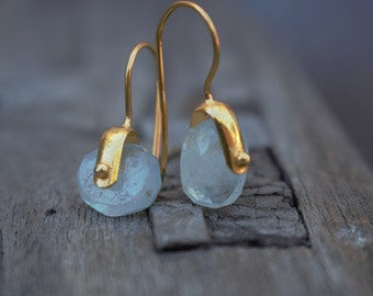 Blue rough aquamarine earrings March birthstone gift for her under 40