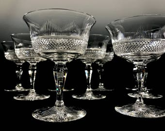 HAWKES American Cut Glass 9 Champagne Coupes SIGNED