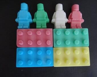 Shea Butter Lego Brick Soap 4 Bricks + 4 Mini figures Multicolor Red Blue Green Yellow White