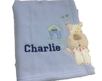 Personalised Blue Puppy Dog Baby Blanket
