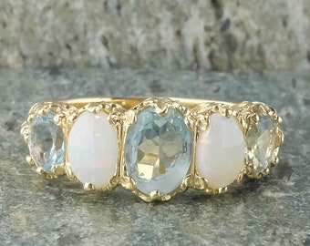 14K Yellow Gold Oval Cut Aquamarine & Opal Vintage Style Gemstone Ring - Size 7