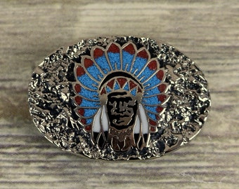 Native American Chief Belt Buckle SSI Turquoise Coral Country Western Cowboy Vintage